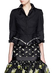 Alexander Mcqueen Peplum Hem Cropped Patchwork Canvas Jacket Black