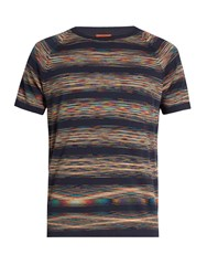 Missoni Striped Crew Neck Cotton T Shirt Navy Multi