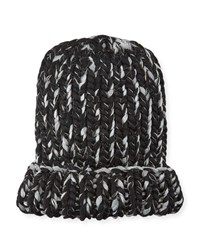 Eugenia Kim Elaine Two Tone Metallic Knit Hat Black Pale Gray