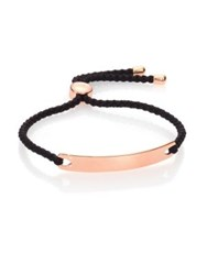 Monica Vinader Havana Hammered 18K Rose Gold Vermeil And Black Nylon Friendship Bracelet