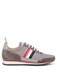 Thom Browne Tricolour Striped Suede And Canvas Trainers Grey