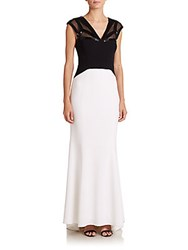 Dawn Levy Platinum Sequined Mesh Detail Colorblock Gown Optic White