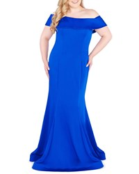 Mac Duggal Plus Size Off The Shoulder Short Sleeve Mermaid Gown Sapphire