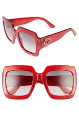 Gucci Women's 54Mm Oversize Square Sunglasses Red Glitter Grey Red Glitter Grey