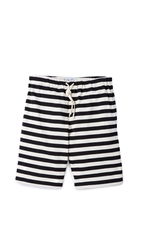 Mark Mcnairy New Amsterdam Uneven Stripe Shorts Navy Cream
