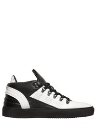Filling Pieces Stitch Pebbled And Smooth Leather Sneakers