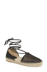 Frye Leo Perforated Ankle Wrap Espadrille Flat Black