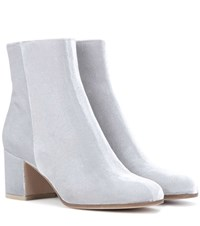 Gianvito Rossi Margaux Velvet Ankle Boots Silver