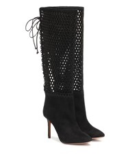 Alaia Perforated Suede Knee High Boots Black
