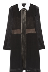 Reed Krakoff Leather Trimmed Silk Chiffon Shirt Dress