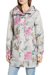 Joules Right As Rain Packable Print Hooded Raincoat Light Grey Chinoise