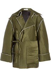 J.W.Anderson Quilted Silk Satin Coat Army Green