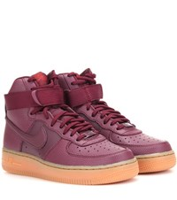 Nike Air Force 1 Hi Se Leather High Top Sneakers Red
