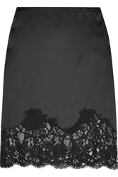 Givenchy Lace Trimmed Silk Satin Skirt Black