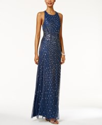 Adrianna Papell Sequined Open Back Halter Gown Twilight Mercury