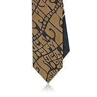 Dries Van Noten Men's Wes Wilson Lyrics Necktie Black Blue Black Blue