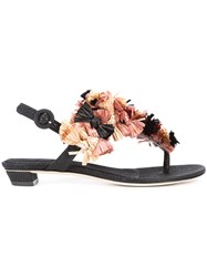 Sanayi 313 Bow Applique Flat Sandals Black