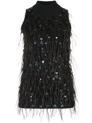 Sally Lapointe Feathered Mock Neck Top Cashmere Feather Black