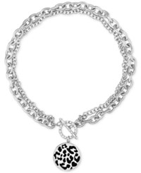 Guess Silver Tone Animal Charm 17 Toggle Necklace