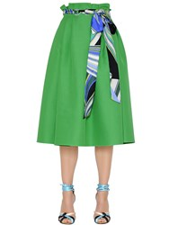 Emilio Pucci High Waist Cotton And Silk Twill Skirt