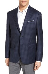 John W. Nordstromr Men's Big And Tall Nordstrom Classic Fit Check Wool Sport Coat Navy Mid Blue