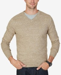 Nautica Men's Big And Tall Snowy V Neck Sweater Woodrift Flax