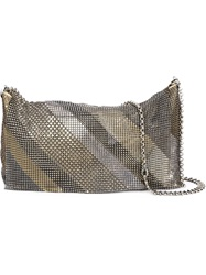 Laura B Diagonal Metallic Mesh Crossbody Bag