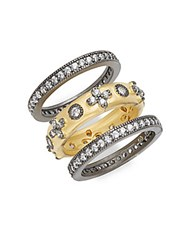 Freida Rothman Classic Clover Eternity Cubic Zirconia And 14K Gold Plated Sterling Silver Stack Ring Set Of 3