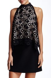 Gracia Back Bow Crochet Tank Black