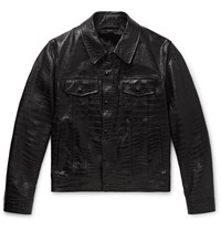 Tom Ford Slim Fit Croc Effect Leather Trucker Jacket Black