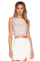 Line And Dot Bloom Halter Tank White