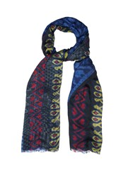 Etro Printed Cotton Blend Scarf Blue Multi