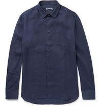 Vilebrequin Slim Fit Linen Shirt Navy