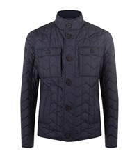 Boss Zig Zag Quilted Jacket Male Navy