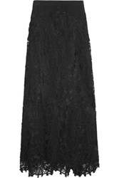 Donna Karan New York Stretch Jersey Macrame Lace And Tulle Maxi Skirt Black