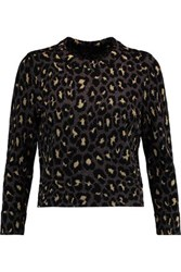 Marc By Marc Jacobs Metallic Jacquard Knit Wool Blend Sweater Gold