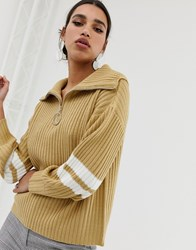 Neon Rose Relaxed Jumper With Half Zip And Stripe Sleeves Brown