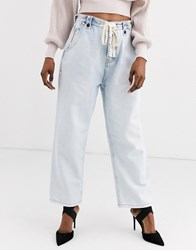 One Teaspoon Tie Detail Relaxed Fit Bleach Out Jean Blue