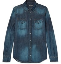 Dolce And Gabbana Slim Fit Denim Shirt Blue