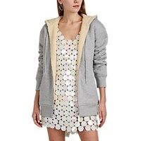 Paco Rabanne Sherpa Lined Cotton Jersey Hoodie Gray