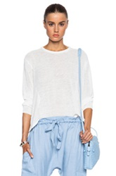 Inhabit Drapy Linen Crew Sweater In White