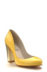 Shoes Of Prey Women's Block Heel Pump Yellow Patent