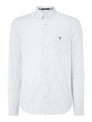 Gant Cotton Polka Dot Fitted Long Sleeve Shirt Blue