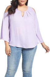 Melissa Mccarthy Seven7 Plus Size Women's Cold Shoulder Top Violet Tulip