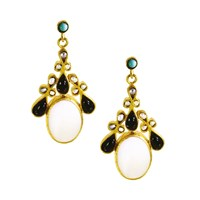 Ottoman Hands Mother Of Pearl And Onyx Ornate Festival Drop Earrings Black Gold Blue