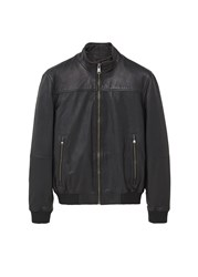 Mango Men's Leather Biker Jacket Black