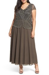Pisarro Nights Plus Size Women's Embellished Mock Two Piece Gown