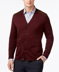 Tasso Elba V Neck Faux Suede Patch Cardigan Only At Macy's Port Heather