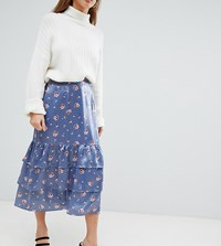 Fashion Union Petite Midi Skirt In Romantic Floral Steel Floral Grey
