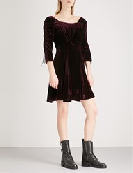 The Kooples Smocking Detail Velvet Dress Bur01